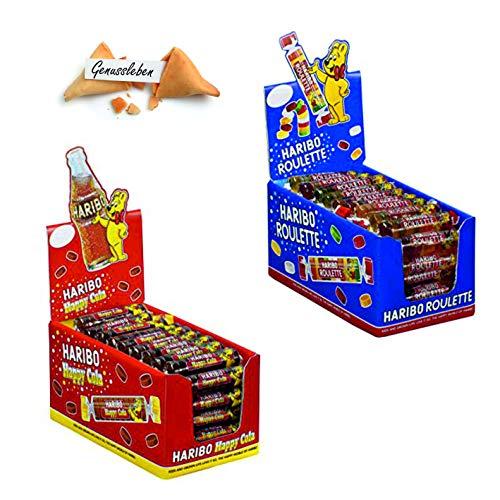 Haribo Roulette Bundle Mix mit 50x25g Weingummi, 50x25g Cola und 1 Genussleben Glückskeks Gratis