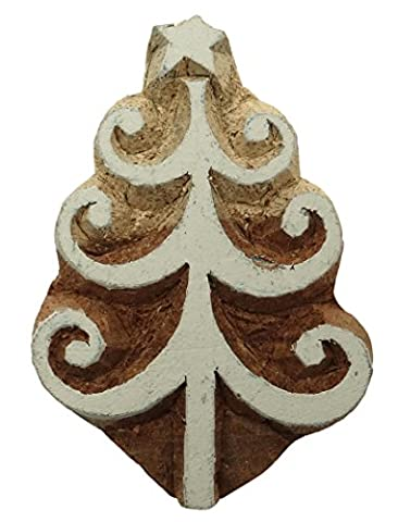 Christmas Tree Carved Printing Blocks Decorative Textile Hand Wooden Stamps