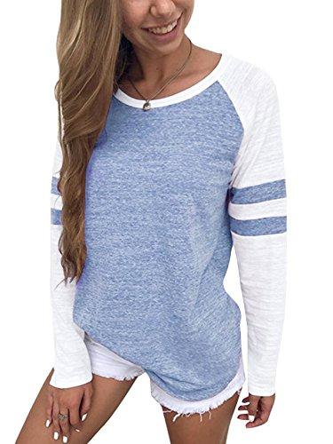 YOINS Pulli Damen Langarmshirt Sweatshirt mit Streifen Rundhals Ausschnitt Oversize Hemd, Streifen-hellblau, Gr.- XL/ 46