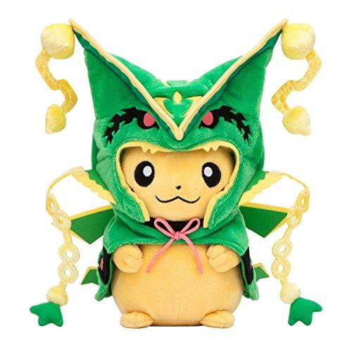 Pikachu sonriendo con traje de Rayquaza