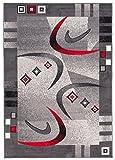 Tapiso Dream Teppich Kurzflor Modern in Grau Creme Rot mit Bordüre Bumerang Muster Designer Wohnzimmer Schlafzimmer ÖKOTEX 130 x 190 cm