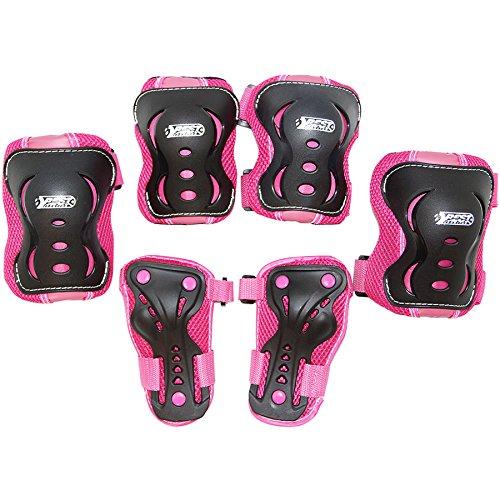 Best Sporting Schützer Set HQ, Kinder Knie-, Ellenbogen- und Handrückenschützer, Größe XS/S M (pink/schwarz, M)