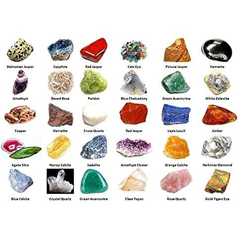 Geofossils - Set di 30 geominerali, pietre e gemme assortite