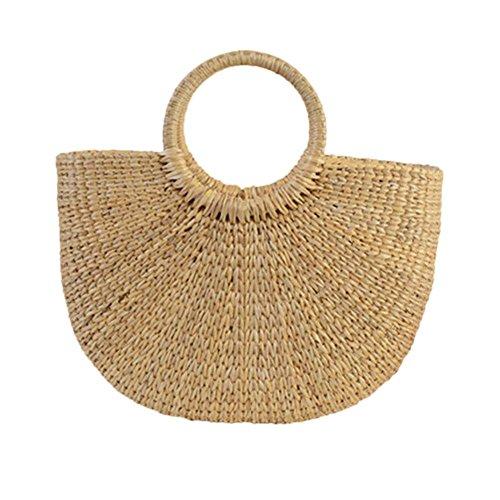 Handtasche Geflochten Tasche Stroh Strandtasche Mond Tasche aus Stroh Retro Tote Bag Gelbe Handtaschen für Einkaufen, Strand, Partys, Reisen. Durch Futurepast(Orange) -