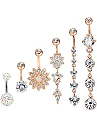 Yadoca 4-6Pcs Dangle Belly Button Rings for Women Girls Navel Rings Curved Barbell CZ Body Piercing 14G