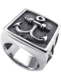 KONOV Joyería Anillo de hombre, Clásicos Gótico Ancla Sello, Acero inoxidable, Color negro plata (con bolsa de regalo)