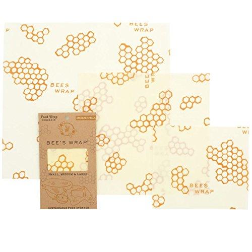 Bee-wasser (Bee's Wrap Wachspapier, Set mit 3Stück, verschiedene Größen, beige)
