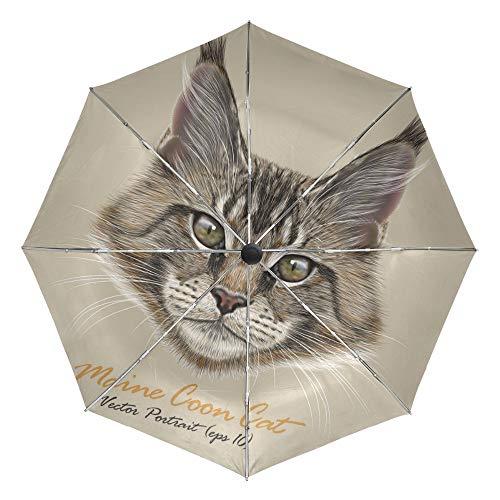 MVBGLK Maine Coon Cat Regenschirm Plum Rain Women Taschenschirme Anti-UV Vollautomatische Lovely Rain Sonnenschirme