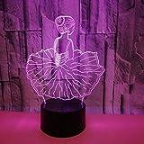 Led8N 3D Lámpara óptico Illusions Luz Nocturna,LED Lámpara de Mesa Luces de Noche para Niños 7 Colores Cambio,Acrílico Plano,ABS Base,Cargador USB Bailarina De Ballet