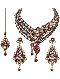 I Jewels Traditional Gold Plated Kundan Necklace Set With Maang Tikka For Women(Maroon & Green)(K7021MG)