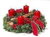 Echter Adventskranz Glanzlichter, 30 cm im Durchmesser, aus echtem nobilisgrün, mit roten Kerzen