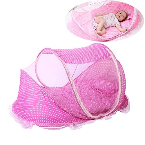 ThreeH Lettino da viaggio per neonato Tenda da spiaggia portatile con zanzariera BX03,Pink
