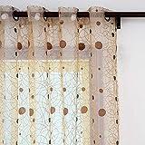 Top Finel Cortinas Salon Transparente Visillos para Ventanas Bordado de Lunares Nido de Pájaro 300 cm Anchura por 250 cm Longitud,Marron,de Ojales,solo Panel