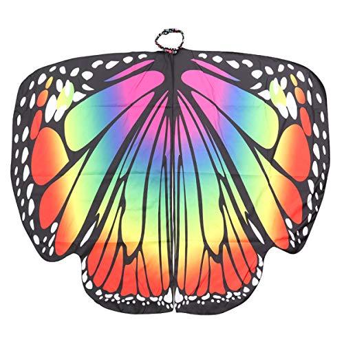 BESPORTBLE Frauen Polyester Schmetterling Sling Mantel Tiere Flügel Rotation Cape Party Zubehör für Mädchen Damen Cosplay Kostüm Party (Erwachsene Gedruckt Diamanten mit Großen Schmetterlinge Bunte)