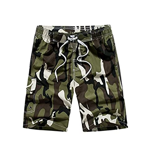 NiSeng Summer Camouflage Quick Dry Men Beach Pants Casual Loose Male Boardshorts Army M