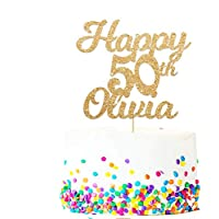 Personalised Happy 50th Birthday Cake Topper - Personalised with Any Name and with Any Age 16, 18, 21, 30, 40- Made from 400 Gram Double Sided Non-shed Glitter Card