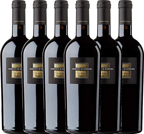 6er Weinpaket Italien - Sessantanni Primitivo di Manduria 2015 - Cantine San Marzano mit VINELLO.weinausgießer | halbtrockener Rotwein | italienischer Rotwein aus Apulien | 6 x 0,75 Liter