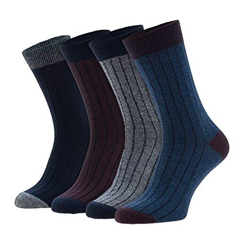Jack & Jones 4-er Set Socken Bordeaux und Blau : 41-46 Größe 41-46