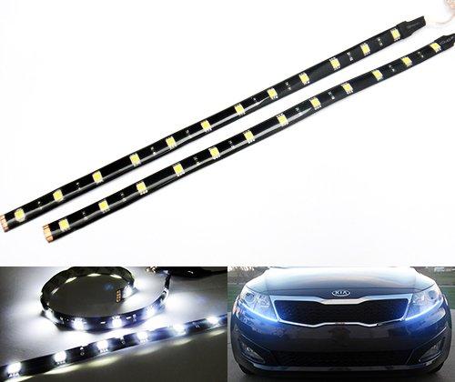 Preisvergleich Produktbild 2x LUFFY 12 LED Slim Flexible Seitenlicht Anzeige Tagfahrlicht Streifen Reverse Nebelscheinwerfer DRL 30cm Auto Motorrad Weiß