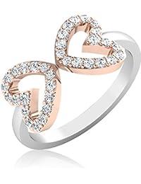 IskiUski Rose 18Kt Swarovski Crystal White Gold Ring Rose Gold Plated For Women