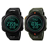 FunkyTop Men's Digital Watch Sports Military Watches 50M Waterproof with Choronograph Stopwatch Compass Alarm Clock