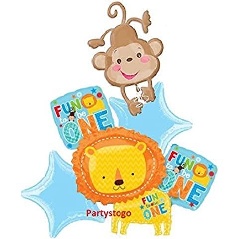 ONE WILD BOY 1ST BIRTHDAY BALLOONS BOUQUET DECORATIONS SUPPLIES FUN TO BE ONE LION MONKEY by Anagram