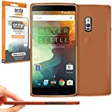 Orzly® - FlexiSlim Case para OnePlus 2 SmartPhone / Teléfono Móvil (ONE PLUS TWO - 2015 Modelo) - Super Slim (0.35mm) Funda de Protección en Semi Transparente NARANJA