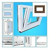 Kellerfenster Kunststoff Fenster Garagenfenster - 2-Fach Verglasung, BxH 65x70 cm, DIN rechts - außen nussbaum
