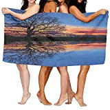 VTXWL Panorama Tree Against Sunset at Magical Night with Sky Reflection Over Lake View Soft Fast Drying Beach Towel Pool Towel 30x50