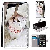Miagon Flip PU Leder Schutzhülle für Huawei P9 Lite,Bunt Muster Hülle Brieftasche Case Cover Ständer mit Kartenfächer Trageschlaufe,Schal Katze