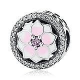 Colección Primavera bakcci rosa Magnolia Bloom botón cuentas plata 925DIY encaja para Original Pandora pulseras Charm joyería