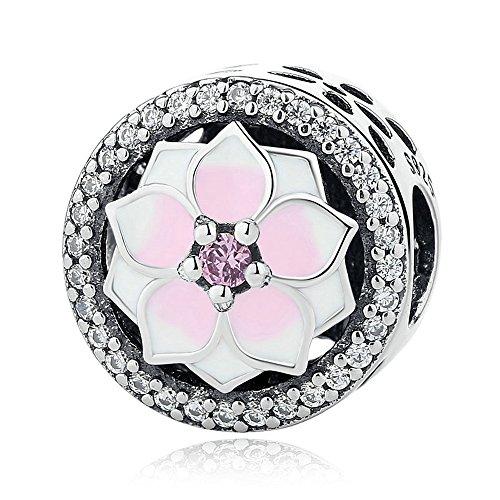 Funshopp europea primavera rosa magnolia bloom button argento 925originale diy adatto per pandora braccialetti charm jewelry