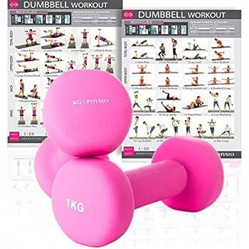 KG Physio Mancuernas de Neopreno para Mujer y Hombre (Pesas vendidas en Pares) Gratis
