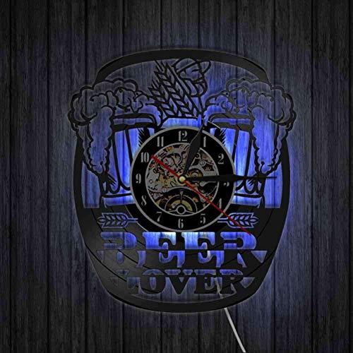 Yddlie Personalisierte Schallplatte Wanduhr Bier Tasse Dekorative Bunte Led Beleuchtung Uhr Moderne Bar Dekor Kreative Dekoration 12 Zoll