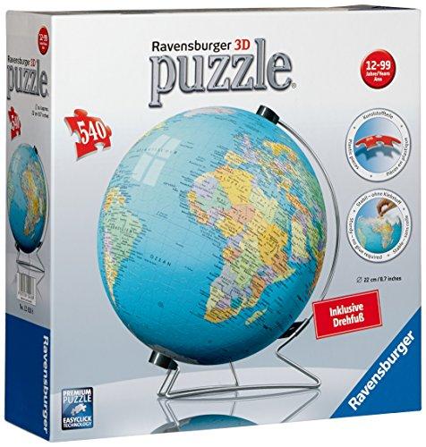 Ravensburger 12426 - puzzleball Erde inklusiv Drehfuß (Globus), 540 Teile