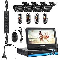 Drahtlose Überwachungskamera, YKS 4CH Kamera Überwachungsausrüstung Überwachungskamera 960P HD Video DVR Außenkamera NVR AHD Wolke P2P Kit CCTV System mit LED IR Nachtsichtkamera