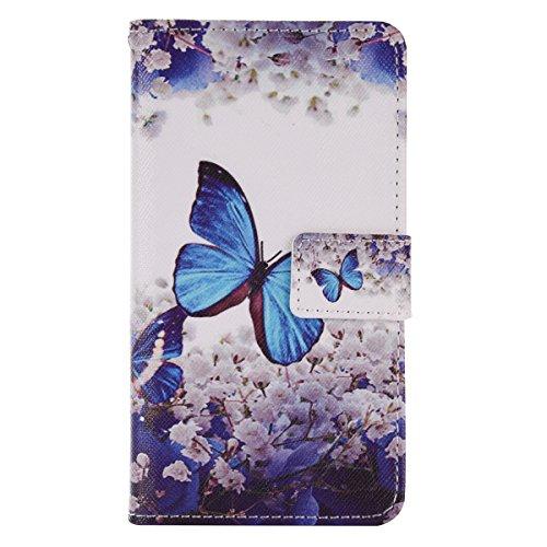 Custodia per Huawei P8 Lite, per Huawei P8 Lite Cover a Libro, Asnlove Custodia in Pelle Portafoglio Flip Case Cover Design Magnetico Flip PU Portafoglio Leather wallet in pelle Protettiva Cuoio Stand-Farfalla blu albero di pera bianco