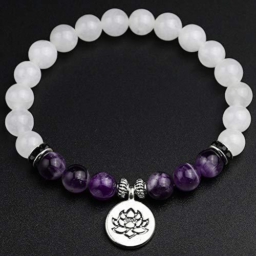 XBSZK Pulsera Calcedonia Blanca con Amatista Natural Lotus Pulsera del Encanto de Piedra Natural Buda Yoga Beads Strand Pulsera para Mujeres Hombres