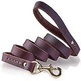 PETBABA Hundeleine Leder, 1.8m Lang Langlebig Training Hunde Leine für Hunde Braun