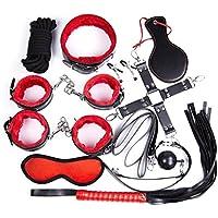 Shopp ingue - Kit de 10piezas de juegos de sumisión y sadomasoquistas (BDSM) de piel con terciopelo suave, interior rojo y negro