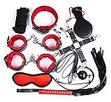 10pcs Kit di BDSM in pelle con velluto morbido interno rosso e nero shopp ingue immagine