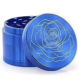 DCOU Premium Krautmühle mit Siebgrinder bruchfester Aluminium Tabak Mahler Crusher Gewürze Schleifer mit Blumen auf Dem Deckel Magnetisch Ø55mm 4-teilig (Blaue Rose)