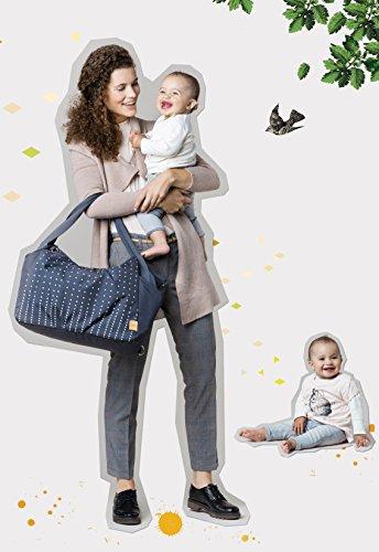 Lässig Casual Twin Bag Zwillings-/Wickeltasche mit verstellbarem Schultergurt inkl. Wickelzubehör, Dotted lines ebony - 3