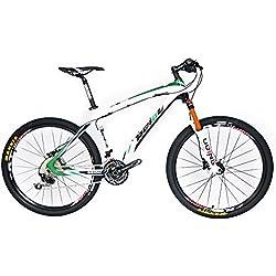 Beiou Shimano M610 Deore T800CB005 - Bicicleta MTB rígida de fibra de carbono, ultra ligera, 10,8kg, 30 velocidades, RT 26pulgadas, cable externo de enrutamiento Toray, color verde, tamaño 15-Inch, tamaño de rueda 26.00 inches