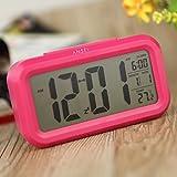 Anself Alarme LED Horloge numérique répétition sommeiller activé par la lumière du capteur rétro-éclairage date Affichage de la température (Rouge)