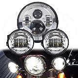 Phare rond à DEL Harley Daymaker LWD de 7 po avec feux noirs assortis Phares antibrouillard à moteur Harley Davidson avec adaptateur de fil (Chrome)