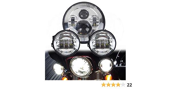 Lwd 7 Zoll Harley Daymaker Led Runde Scheinwerfer Mit Passendem Schwarz 4 5 Zoll Passing Lampen Nebelscheinwerfer Für Harley Davidson Motorräder Mit Drahtadapter Chrome Auto