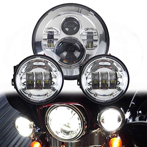 LWD 7 Zoll Harley Daymaker LED Runde Scheinwerfer mit passendem Schwarz 4,5 Zoll Passing Lampen Nebelscheinwerfer für Harley Davidson Motorräder mit Drahtadapter (Chrome) -