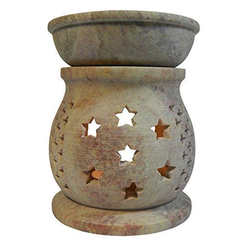 Brûle-parfum bombé Diffuseur pour bougies chauffe-plat hauteur 11cm Grille décorative motif Étoiles Lumignon en Stéatite pierre à savon Artisanat ind