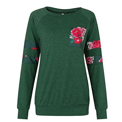 8718eddd575d Aitos Oberteile Tops Frauen Langarmshirt Blumenmuster Rose Rundhals Damen  Bluse Pullover T Shirt Basic Casual Grün